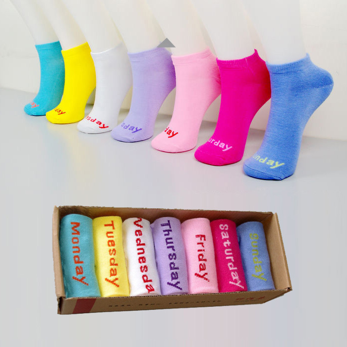 Free Shipping,Hot Fashion Cotton Free Size Women's Weekly Socks,Quitter Socks