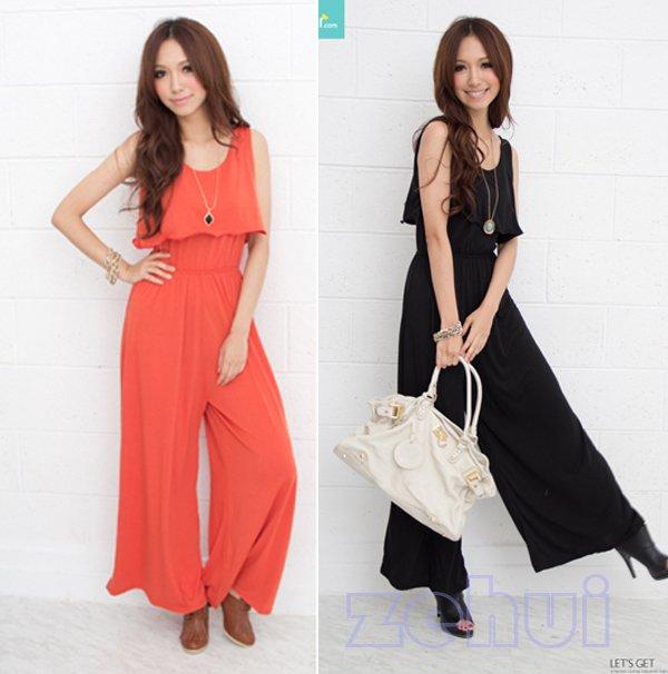 Free Shipping Hot Fashion Slim U Collar Sleeveless Lotus Jumpsuit Loose Long Overalls 3 Colors HR261