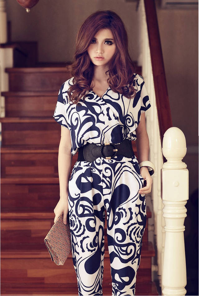 Free shipping,Hot,Good quality,2013 new Korean Women Sweet Imitation Silk Jumpsuits/Rompers,pants With Belt,X2707