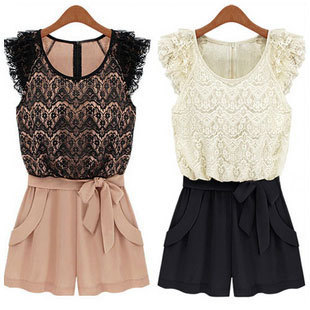 Free shipping! hot item  Chiffon lace jumpsuit short skorts female summer fashion plus size jumpsuit 13077