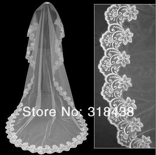 Free shipping hot sale HHS-8932 high quality Wholesale wedding veils bridal accesories lace veil bridal veils
