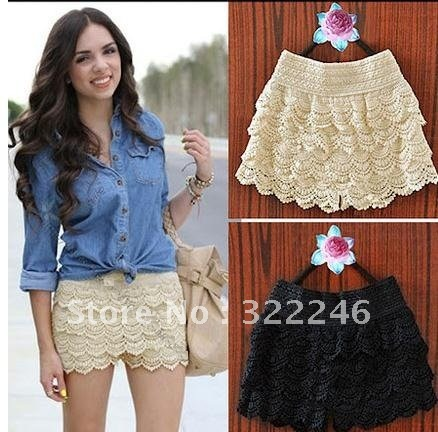 Free Shipping Hot sale Korean Fashion Womens Sweet Cute Crochet Tiered Lace Shorts Skorts Short Pants