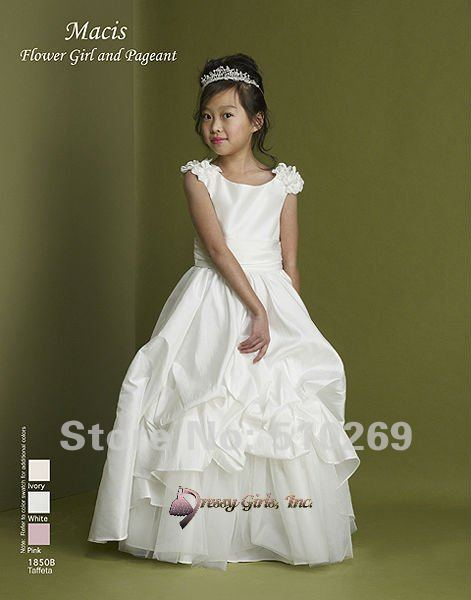 Free Shipping Hot-sale White Appliques Sleeveless  Ruffled Satin Flower Girl Dress