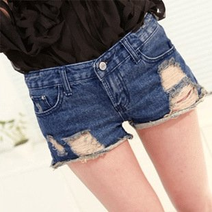 Free shipping hot sale Women's 2012 new arrival fashion slim dark color low-waist hole lady denim shorts s766
