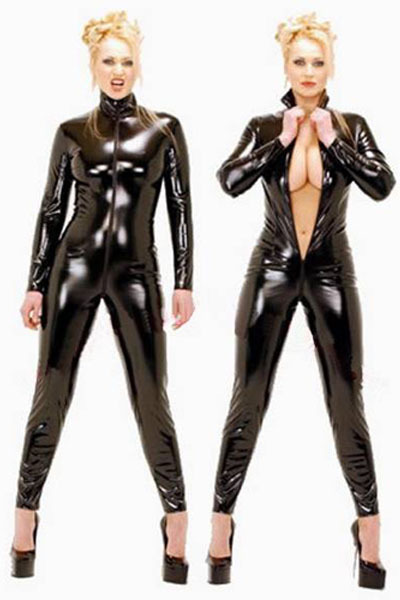 Free Shipping! Hot Sales Sexy Ladies jumpsuits Long Sleeved  Black Faux Leather Bodysuit with Zipper Front LB1006