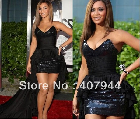 Free shipping Hot sell Beyonce sheath front short long back sweetheart neckline black chiffon and sequin celebrity dress