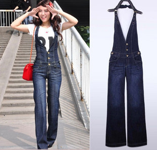 Free shipping hot sell jumpsuits romper women, wide leg pants denim overalls for women, size S, M, L