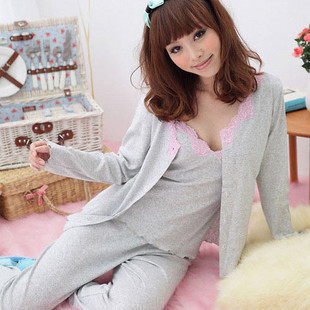 Free shipping Hot-selling japanese style long-sleeve lace sexy women sleepwear lounge piece set Sleep Tops