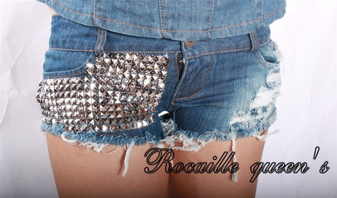 Free Shipping hot selling Sexy Women's shorts hot rivet jeans short pants