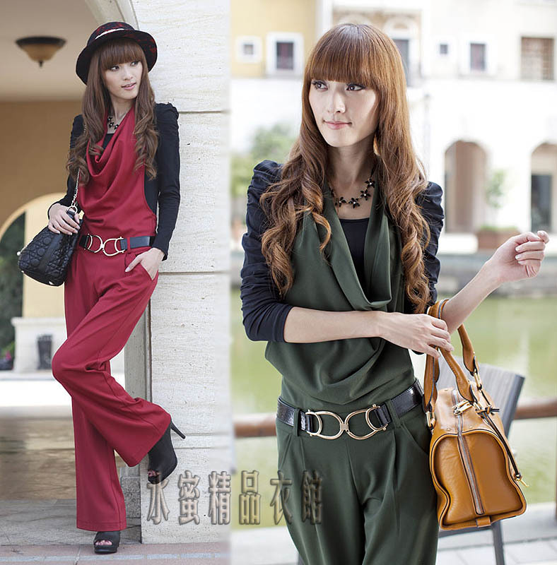 Free Shipping !Hot Selling Women 2013 Autumn OL Halter-neck Plus size jumpsuit +Belt,Long  trousers Wide Leg Fashion Jumpsuit