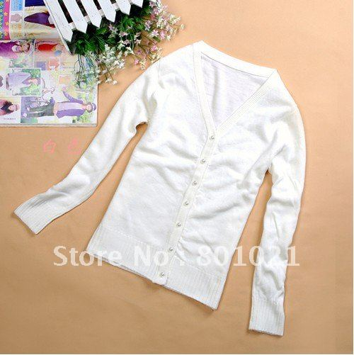 Free Shipping In Stock White Cashmere Sweater Cardigan