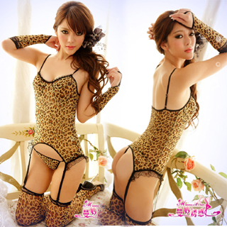FREE SHIPPING INTERNATIONAL STYLE AND ORIGINAL QUALITY SIX-SET SEX DRESS WITH LEOPARD DESIGN