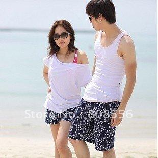 Free Shipping  Irregular white star couple beach pants men/women pants of beach style lovers in stock