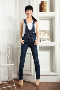 Free Shipping Jeans Jumpsuit For Women Winter Pants Overalls Trousers Romper Casual Straight Plus size Jeans Suspenders