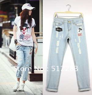Free shipping jeans shorts women Blue badge may be crimping loose jeans shorts