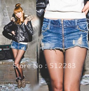 Free shipping jeans shorts women Korean version of the simple pair of jeans denim culottes skirts