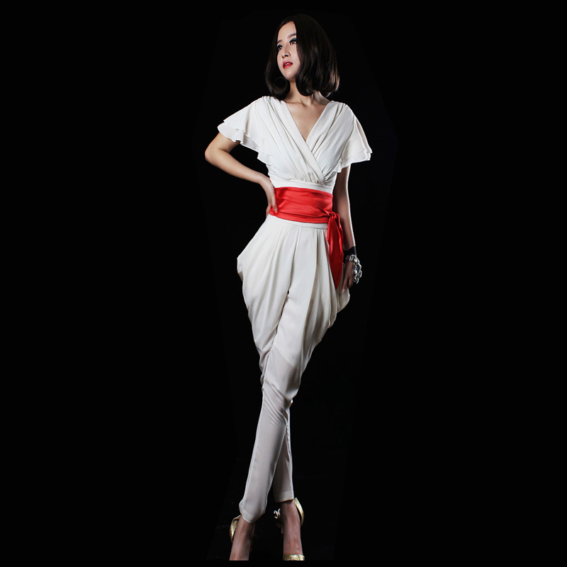 FREE SHIPPING Jumpsuit 2013 spring female V-neck chiffon fashion high waist trousers jumpsuit