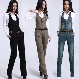Free Shipping Jumpsuit For Women Spring Pants Overalls High Quality Trousers Romper Casual Straight Plus Size Jeans Suspenders