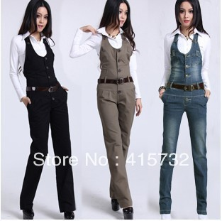 Free Shipping Jumpsuit For Women Winter Pants Overalls High Quality Trousers Romper  Casual Straight Plus size Jeans Suspenders