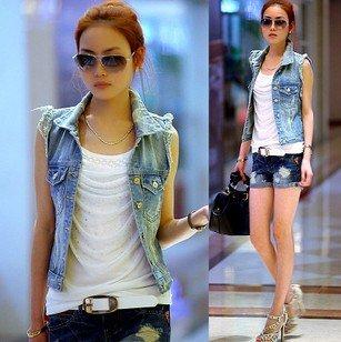 Free shipping korea design new arrival women fashion Denim outwear & coat lady short jackets women solid pockets vest