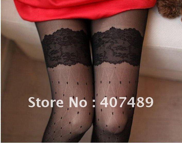 Free Shipping Korea's fashion Stockings Sexy Tights Dot pantyhose.2PCS=1lot, sexy lace pantyhose!