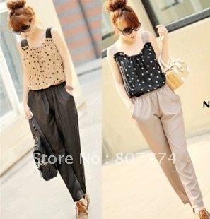 FREE SHIPPING Korea style women polka dot jumpersuit retro vest chiffon romper black/coffee hot sale promotion