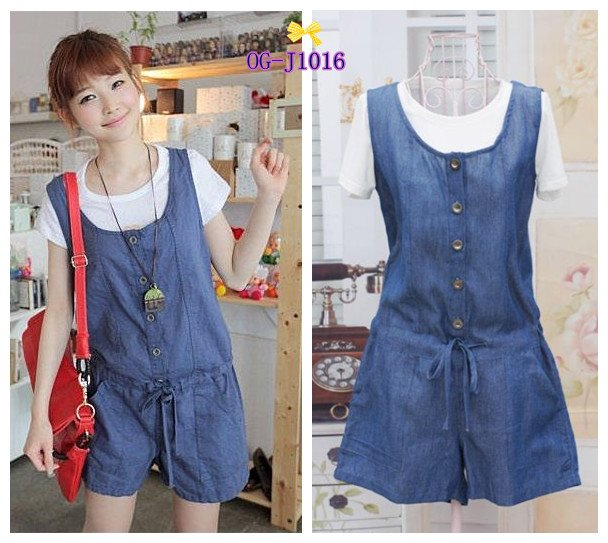 free shipping, Korean cute style  2013 hot popular solid women casual white T shirts+ jean Jumpsuit 2pcs set ,1color  free size