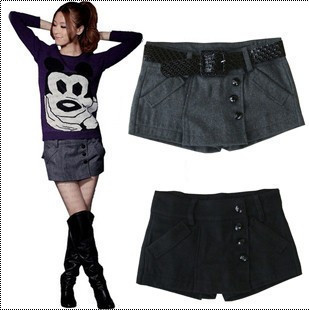 Free shipping Korean Fashion autumn and winter all-match woolen women's slim sexy boots shorts Culottes skirts / 2 color