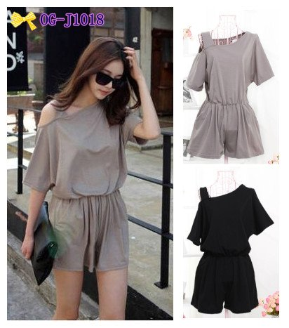 free shipping Korean style  2013 new hot popular cotton offshoulder women fashion sexy Jumpsuit  short , 2colors free size