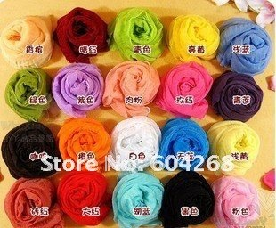 Free shipping Korean wrinkle scarf scarves all-match candy color transparent elegant silk scarf shawl lots of colors