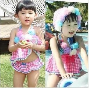 Free shipping Lace flower split swimsuit piece set princess swimwear girl swimwear