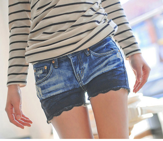 Free Shipping Ladies Short Denim Pants Sexy Patchwork Jeans   9293