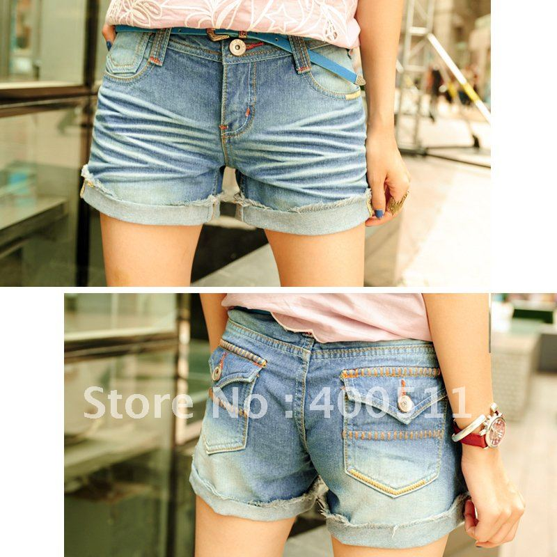 free shipping ladies water wash wearing denim shorts d2033