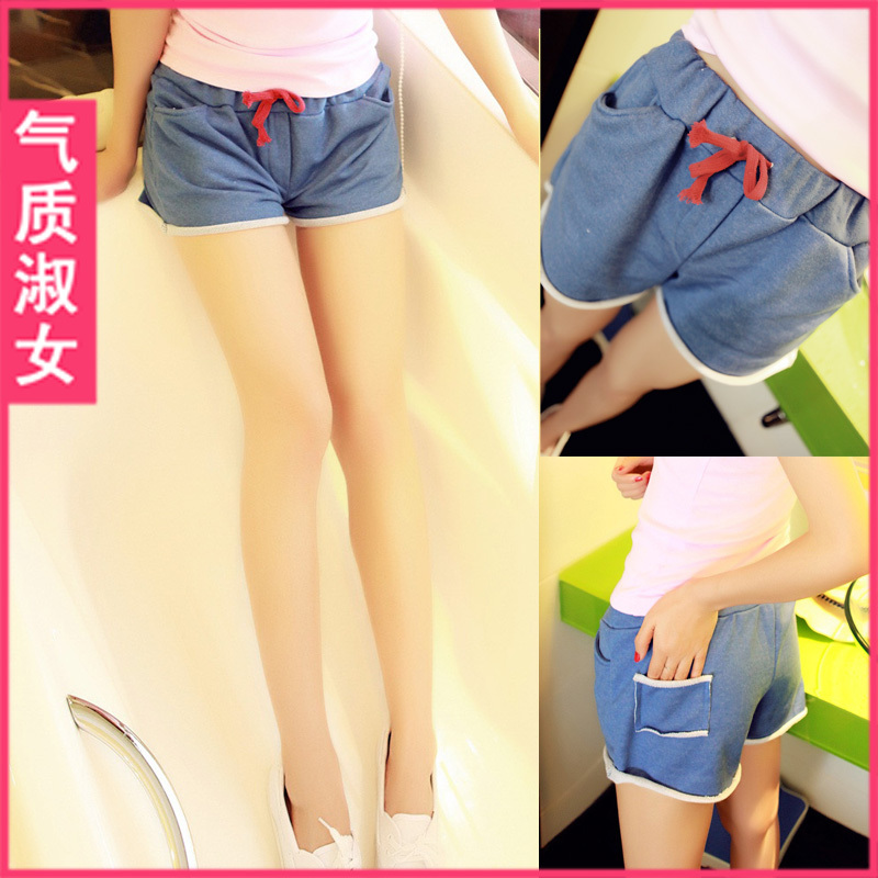Free shipping Lady 2012 summer strap boot cut jeans shorts straight basic shorts k586 summer