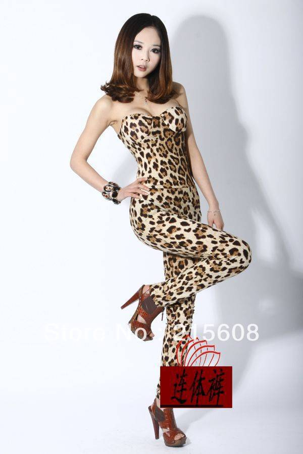 Free shipping lady's fashion sexy leopard jumpsuits J001 high quality
