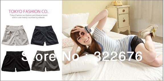 Free Shipping Lady's Fashionable Casual Style  All Match Seven-inch Short Cotton Pants Light Grey/ Black O12052007/O12052007-2