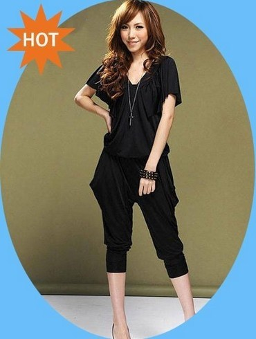 Free Shipping Lady's Halter Design Blouse Jumpsuit Women's jumpsuit overall Harem pants v-neck