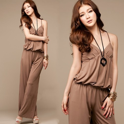 Free Shipping Lady Sexy V neck princess gallus jumpsuit Women fashion summer jumpsuits long pants KZ0012 Khaki