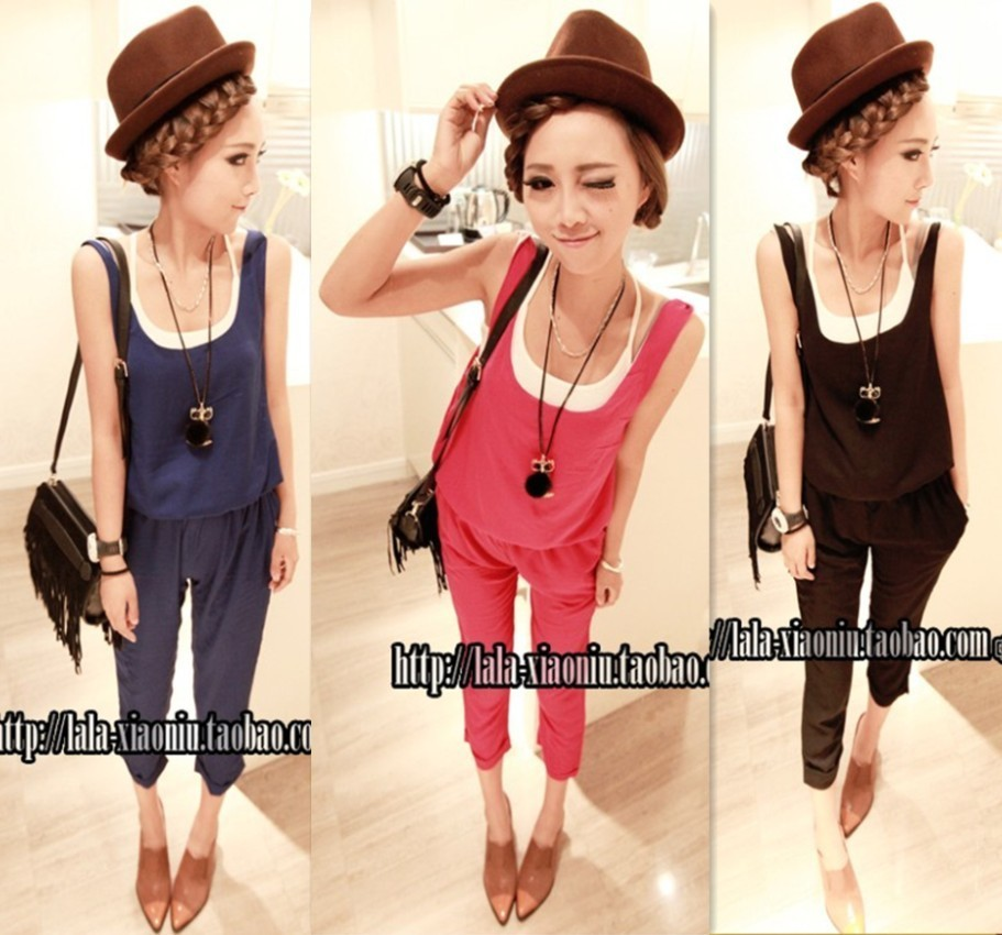 Free Shipping Lady Solid Color Casual Rompers blue black pink red Women Multicolour Fashion Summer Sleeveless Jumpsuits Trousers