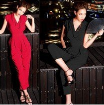 free shipping lady summer slim solid sleeveless polyester OL overalls Harem pants women's Casual  V-neck Jumpsuits