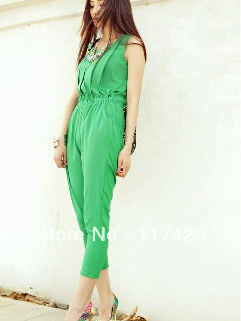 Free Shipping Latex Women's Chiffon  Bodysuits Fashion Ladies' Casual Rompers Shrink Waist Catsuits Three Colors Size-S-L S352