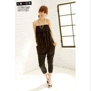 Free shipping + Layers of the scales wrapped chest sexy jumpsuits female 's jumpsuit