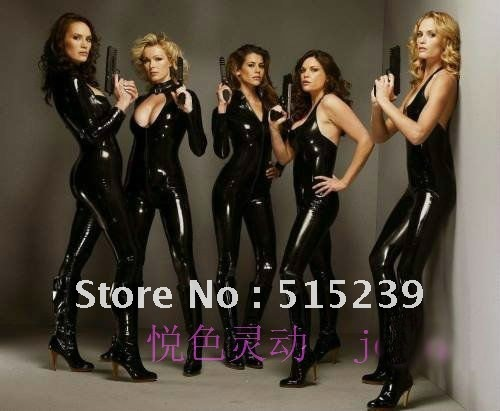 Free shipping Leather BODYSUIT LONG SLEEVE Jumpsuit Sexy Stretch Black Slim leather sexy wear dance wear X331