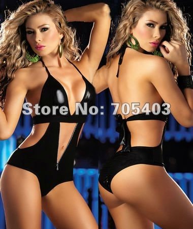 Free Shipping Lingerie clubwear fashion black facny dress CATSUIT POLYESTER one size:S-M