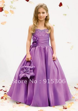 Free shipping little queen flower girl dress with basket