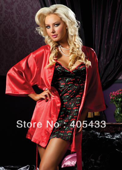 Free shipping   long sleeve noble lady night robes set dresses sauna clothing red nightgowns nightdress lingeries sleepwear