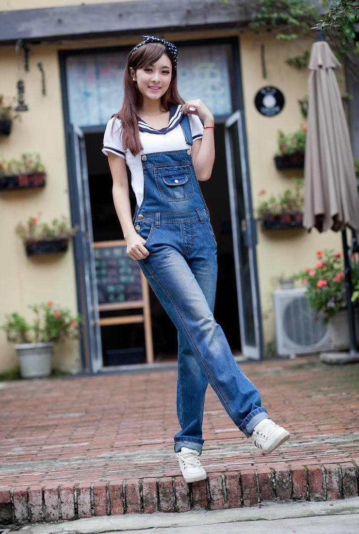 Free shipping loose denim overalls new fashion lovely big jeans, suspenders-G260