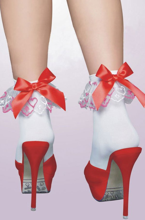 Free shipping + Lowest price New Sexy white Cute Socks with red bow