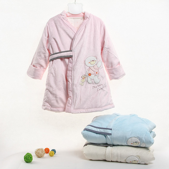 Free shipping, Male child female child autumn and winter sleepwear child baby robe lounge