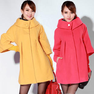 free shipping maternity clothing autumn and winter loose plus size stand collar thickening woolen outerwear maternity overcoat